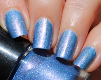 Cornflower Franken Nail Polish - Light blue with holographic pink purple shimmer