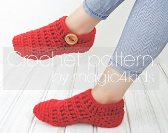 Crochet pattern- woman slippers,loafers,all women sizes,easy crochet slippers,adult,bulky yarn,buttons,quick,socks