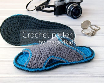 Crochet Pattern Men Basic Slippersall Etsy