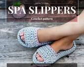 CROCHET PATTERN- women and men spa wellness slippers,all sizes,slip ons,shoes,loafers,scuffs,adult,t-shirt yarn,unisex,spaghetti yarn