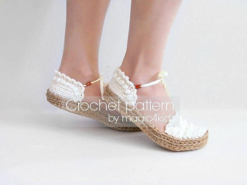 e2b0b76127a Crochet pattern women ballerina slippers with jute rope