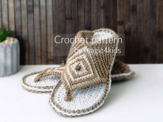 Crochet Pattern Thong Sandals With Rope Solesslip Onsslippers