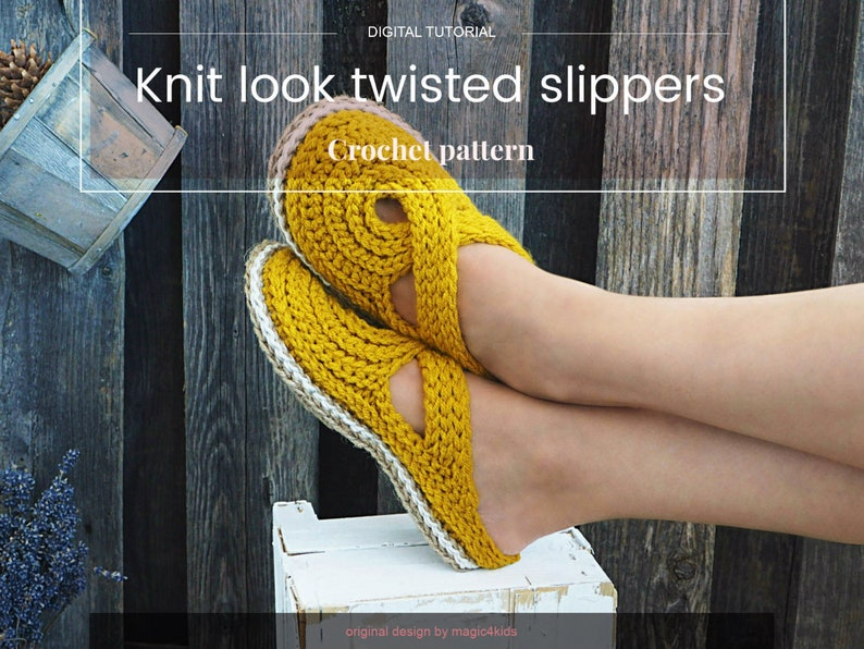 4b2f4788b3d3c CROCHET PATTERN- women twisted strap clogs with rope soles,soles pattern  included,slip ons,shoes,loafers,scuffs,slippers,adult,cord