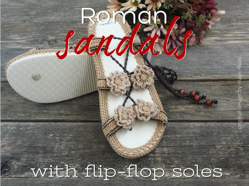 05633061bfaa7 CROCHET PATTERN- Roman sandals on flip-flop soles,all women  sizes,easy,summer,footwear,shoes,slippers,loafers,adult sizes,girl,young