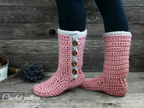 Crochet Pattern Women Buttoned Slipper Boots With Additional Etsy