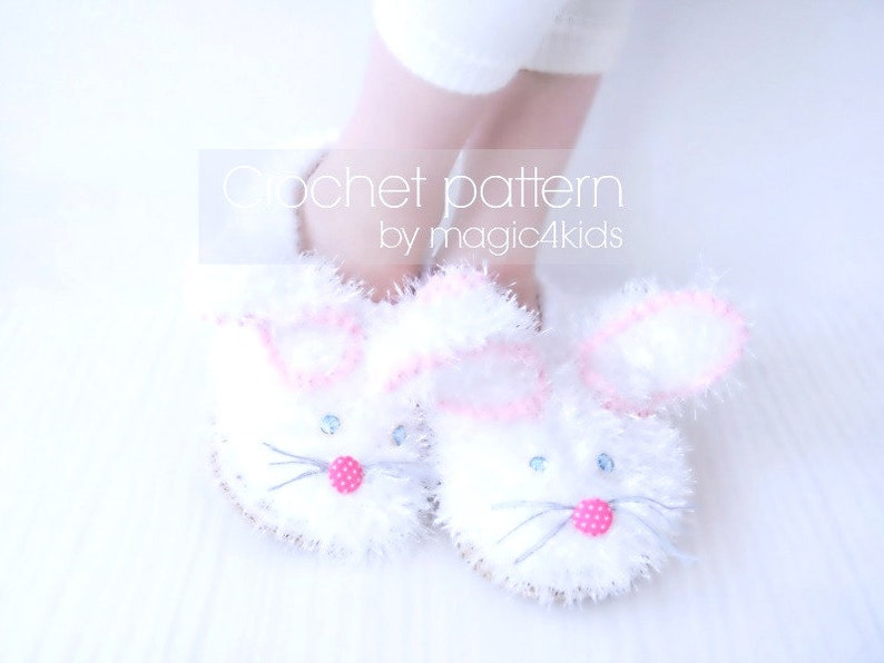 2bf2be727 CROCHET PATTERN fluffy bunny slippers for kidscrochet shoes