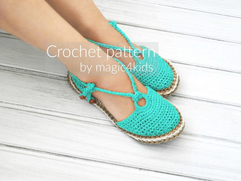 b64badcff928a Crochet pattern-ring sandals with rope solessoles pattern