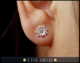 Baha'i Sterling Silver 9 Star bahai Stud Earrings - BES5