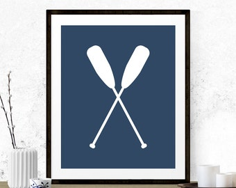 Nautical Oars Nursery Printable, Oars Print, Printable Nursery, Beach Art Print, Nautical Print, Printable Oars Art, Muskoka Art, Navy Blue