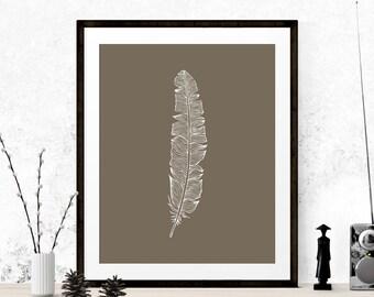 Beige Feather Art Print, Feather Graphic Art, Printable Art, Feather Print, Feather Art, Beige Graphic Art Print, Wall Prints, Tribal Art