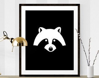 Black & White Raccoon Print, Raccoon Graphic Art, Printable Art, Nursery Printable, Raccoon Art, Black White Graphic Art, Nursery Prints