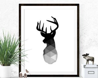 Black Grey and White Deer Head Print, Graphic Art Print, Printable, Print, Geometric Art Print, Geometric Deer Head, Wall Prints, Home Decor