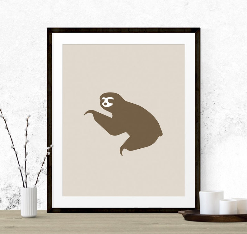 50dd1659d Sloth Art Print Printable Art Sloth Graphic Art Beige Home