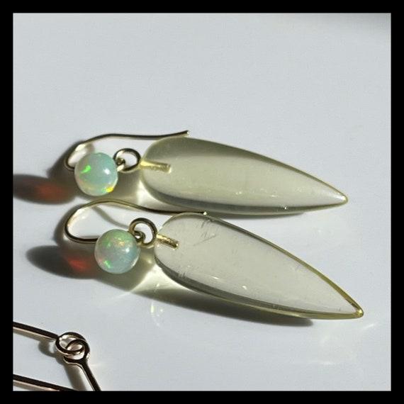The Dahlia Chalcedony and Opal Earrings. One of a kind.