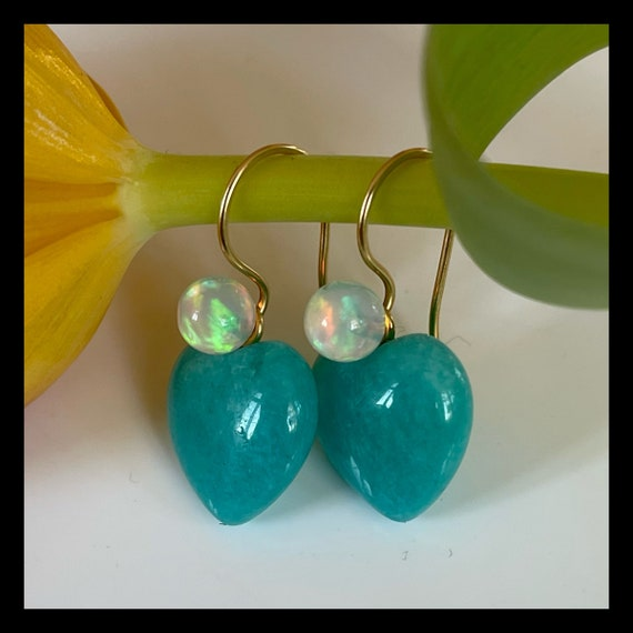 The Maman Earrings with Amazonite and Opal