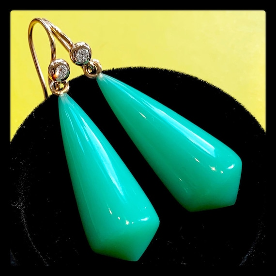 The Agnes Chrysoprase Earrings. One of a kind.