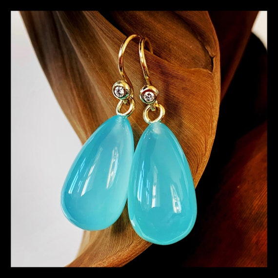 The Agnes Sea Blue Calcedoney Earrings. One of a kind.