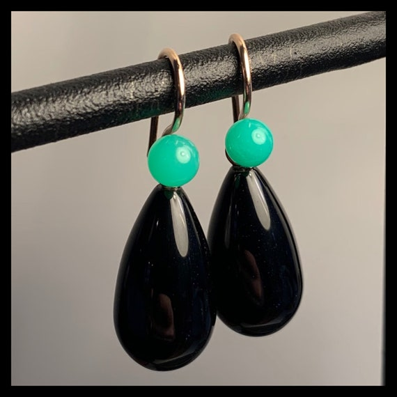 The Dahlia Chrysoprase and Onyx Earrings. One of a kind.