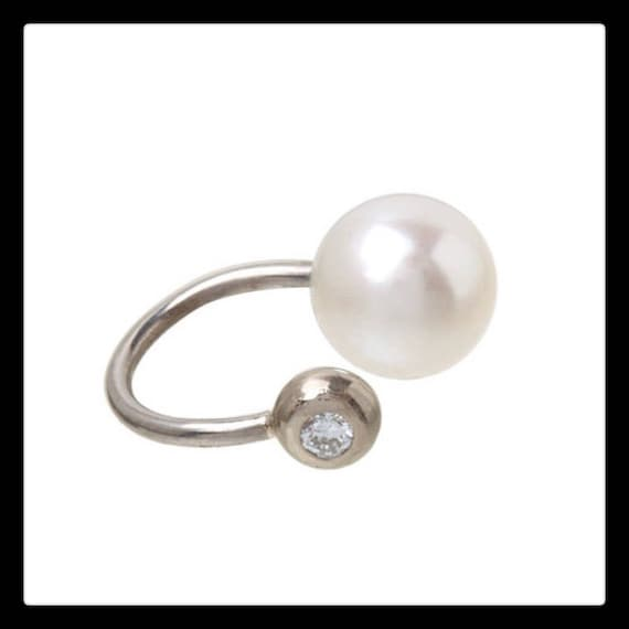 Verena Ear Cuff 14k Gold with one Akoya pearl and one .03ct  Diamond