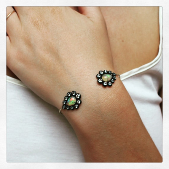 Cuff Bracelet 14K Gold and Sterling Silver with Opal and Topaz