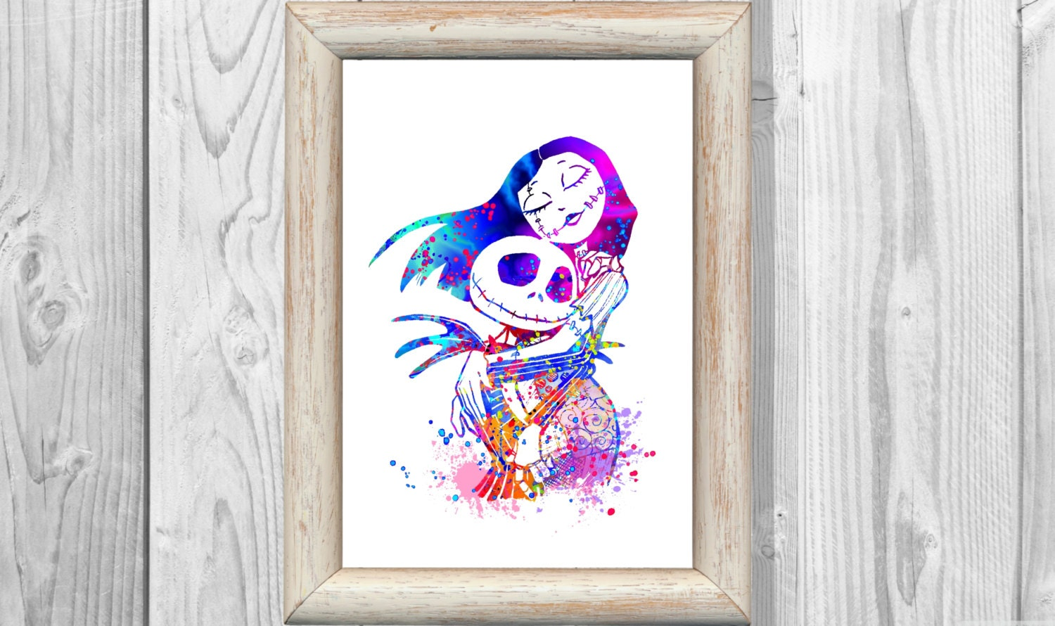 Nightmare Before Christmas Poster Watercolor Print Jack and | Etsy