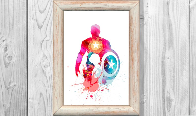 Captain America Poster Marvel Poster Watercolor Print Superheroes Art Print  Wall Illustrations Art Print 8x10 Instant Digital Download