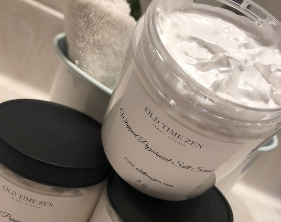 Peppermint Whipped Salt Scrub with Dead Sea Salt and Essential Oil