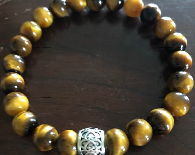 Tiger's Eye Protective and Healing Bracelet with Tibetan Bead