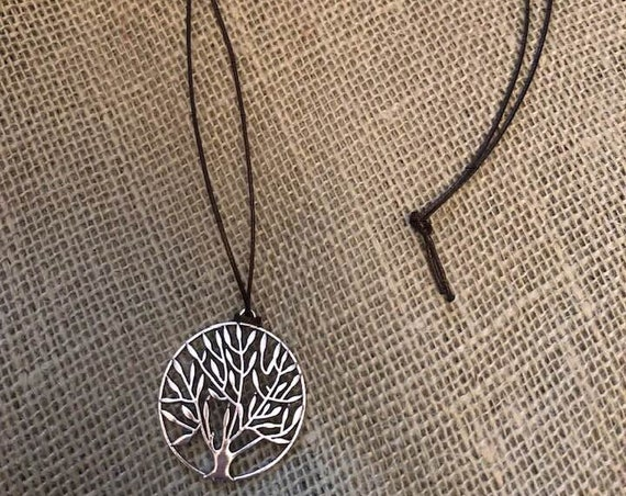 Tree of Life Pendant Necklace with Silk Rope