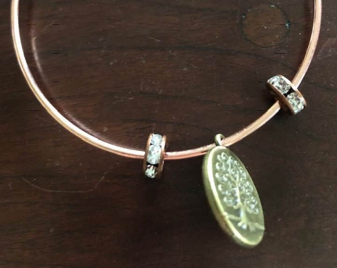 Copper Bracelet with Tree of Life Charm and Prayer Beads