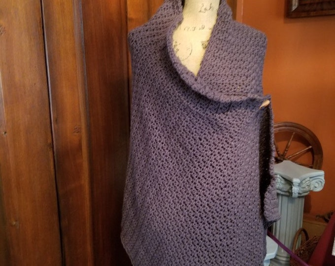Crocheted Brown Cozy Shawl