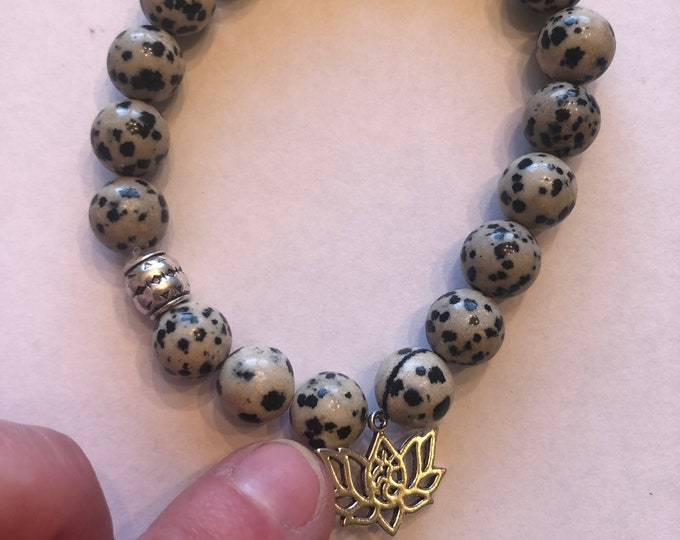 Dalmatian Jasper Healing Crystal Bracelet with Lotus Charm Yoga Bracelet Meditation Bracelet