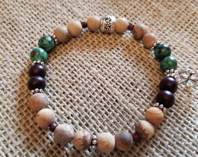 Expandable Healing Bracelet with Turquoise, African clay beads and mahogany beads
