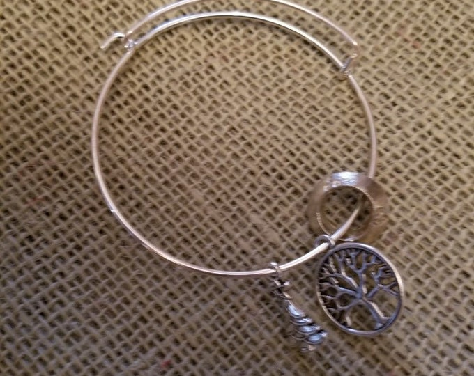 Silver Charm Bracelet with Christmas Tree, Tree of Life and Wollo Ring