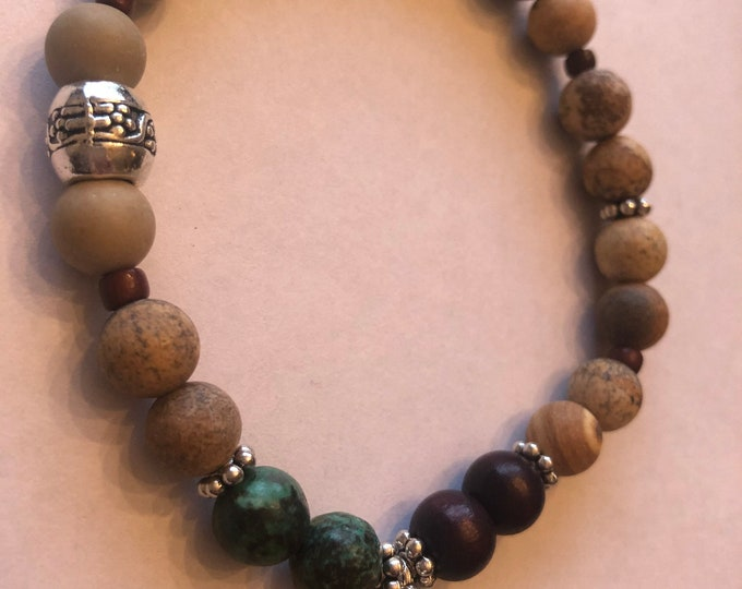 Jasper and Tibetan Rosewood & Sandalwood Healing Bracelet with Four Leaf Clover Meditation Yoga Bracelet