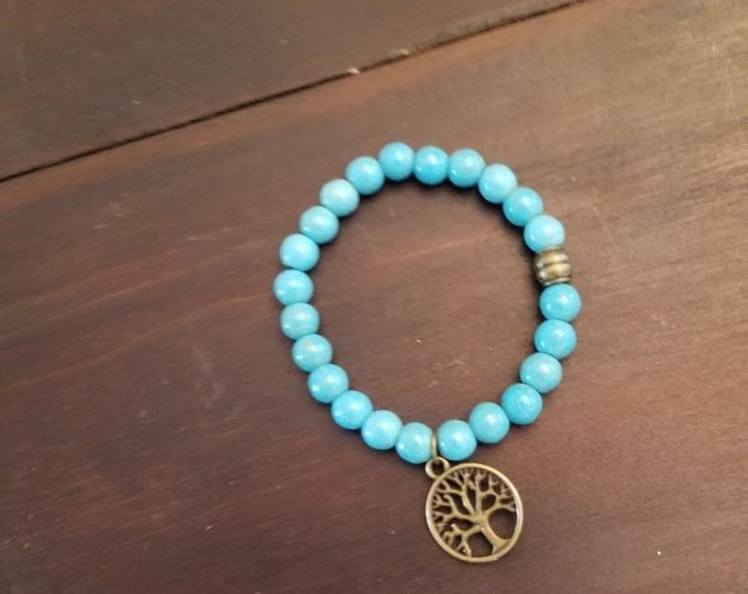 Turquoise Healing Crystal Meditation and Yoga Bracelet with Tree of Life Charm