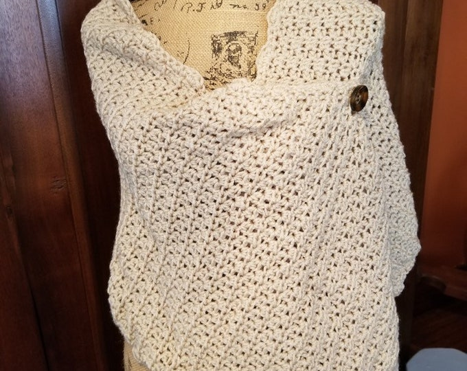 Beige Crocheted Shawl