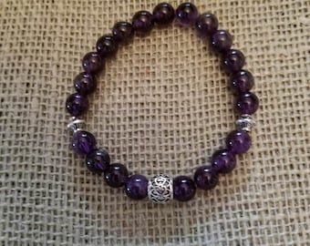 Amethyst Healing Bracelet with Tibetan Beads