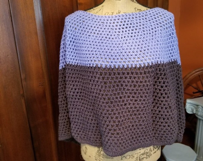 Heather and Brown Crocheted Cape