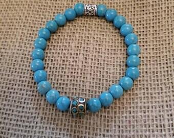 Blue Turqoise Bracelet with Tibetan Beads