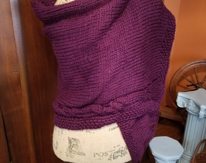 Burgundy Hand Knitted Shawl