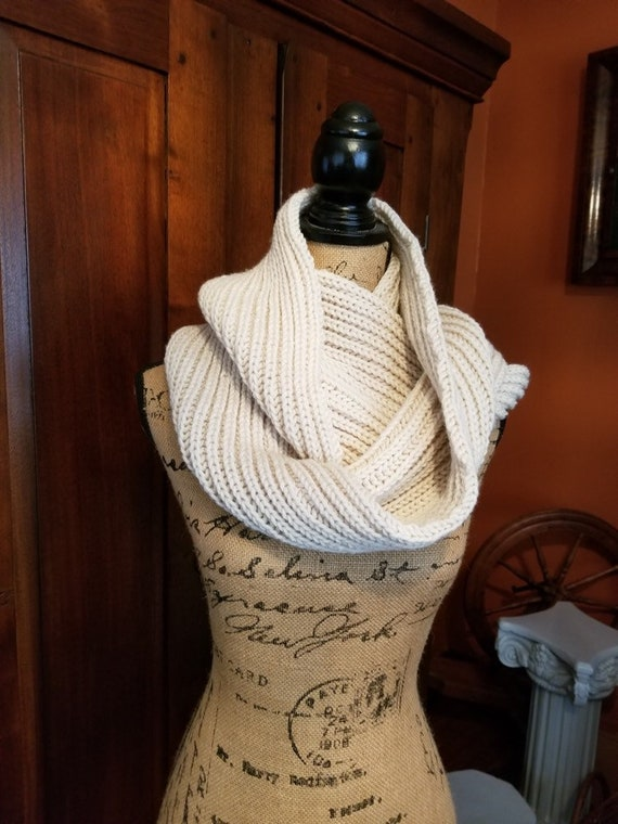 Hand Knitted Oyster Colored Cowl