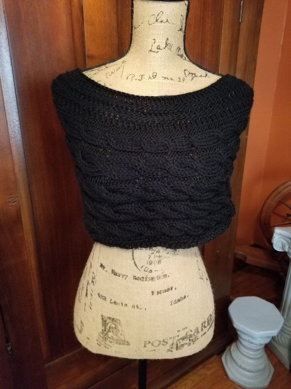 Black Hand Knitted Cape