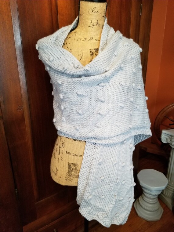 Ice Blue Hand Knitted Shawl