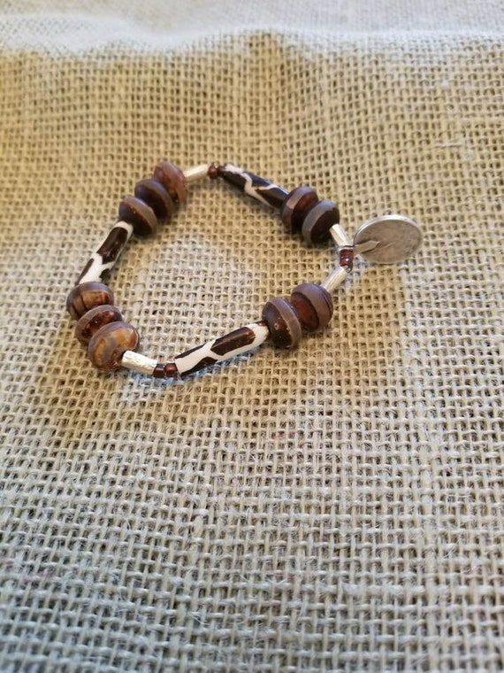 Giraffe Bracelet with Batlik Bone Beads, Brown Bone Beads, Coin Charm and Ethiopian Scratch Beads