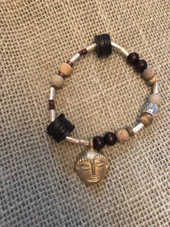 African Pendant Bracelet with Natural Wood, Vintage Glass, Coconut Shell, and Ethiopian Scratch Beads