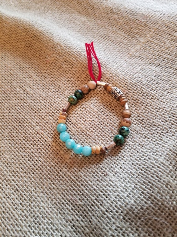 Expandable Healing Bracelet with Turquoise, African clay beads, and mahogany beads
