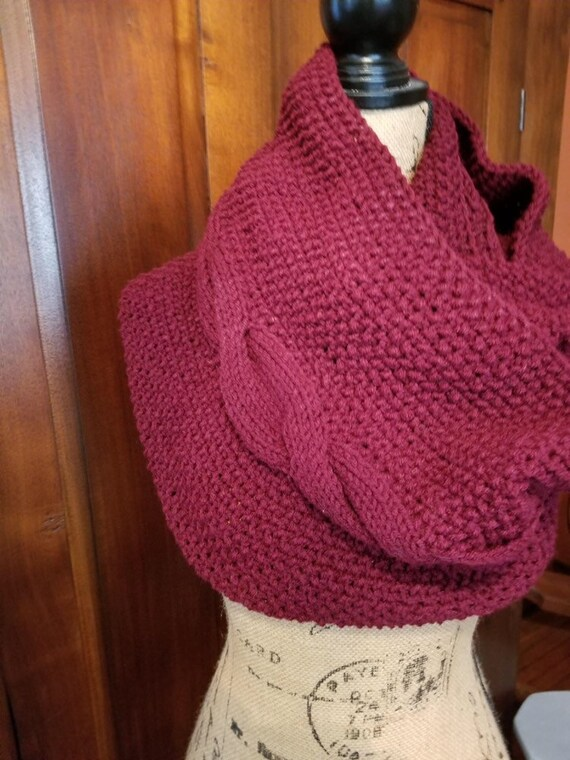 Dark Red Knitted Cowl
