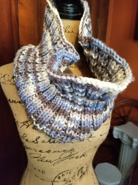 Brown and Blue Hamd Stitched Cowl