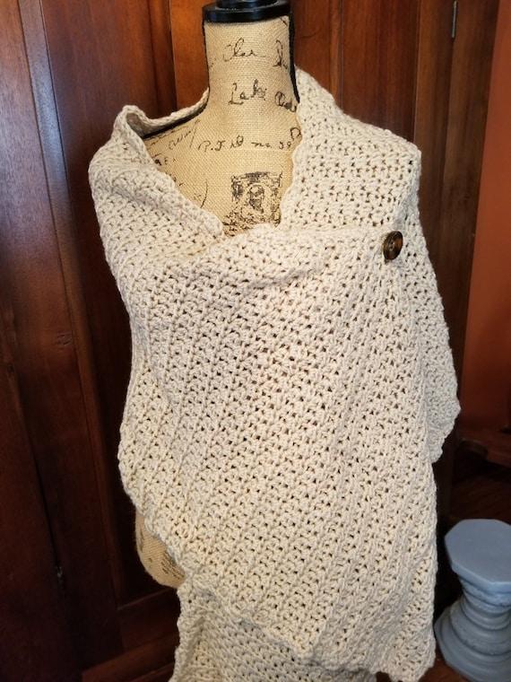 Beige Crocheted Shawl